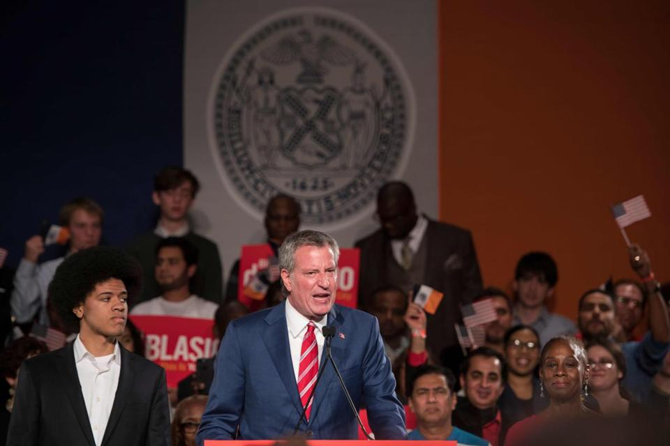 New York City Mayor Bill de Blasio addressed supporters Tuesday after securing a second term.