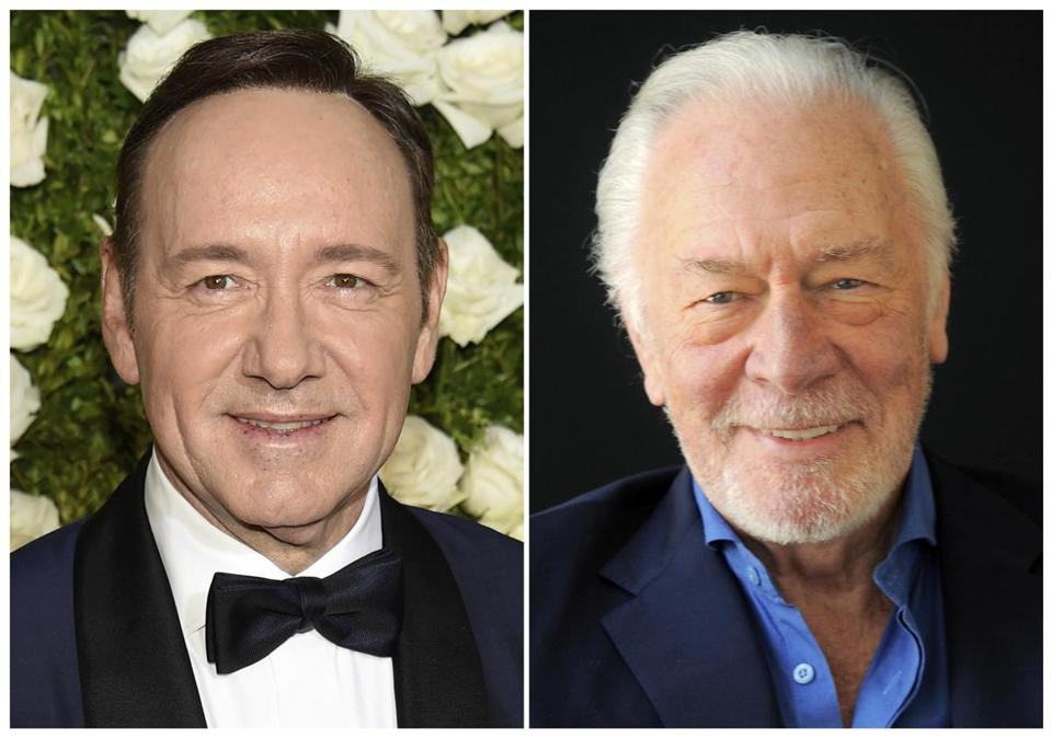"This combination photo shows Kevin Spacey, who was to appear as J. Paul Getty in ""All the Money in the World,"" and Christopher Plummer, who will reshoot Spacey's scenes for the film, which is slated for release Dec. 22."