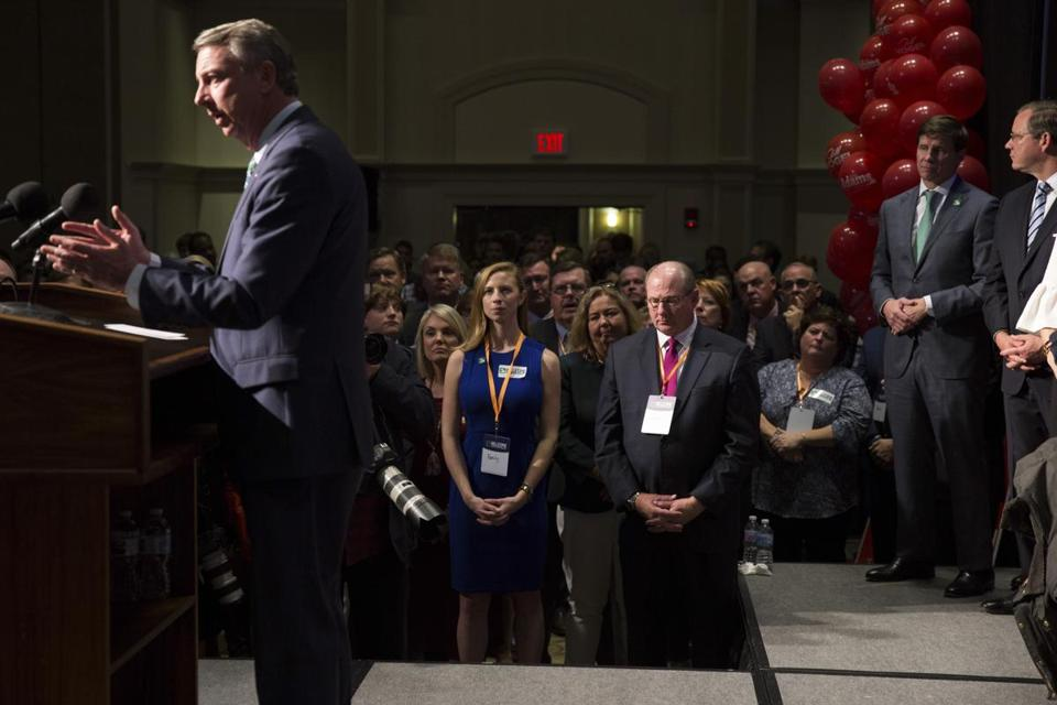 Ed Gillespie, the Republican nominee for governor of Virginia, speaks to supporters after losing the race in Richmond, Va., Nov. 7, 2017. Ralph Northam, the Democratic candidate, captured some Northern Virginia counties by 20 percentage points or more — a sign of the degree to which the American suburbs appear to be in revolt against President Donald Trump. (Parker Michels-Boyce/The New York Times)