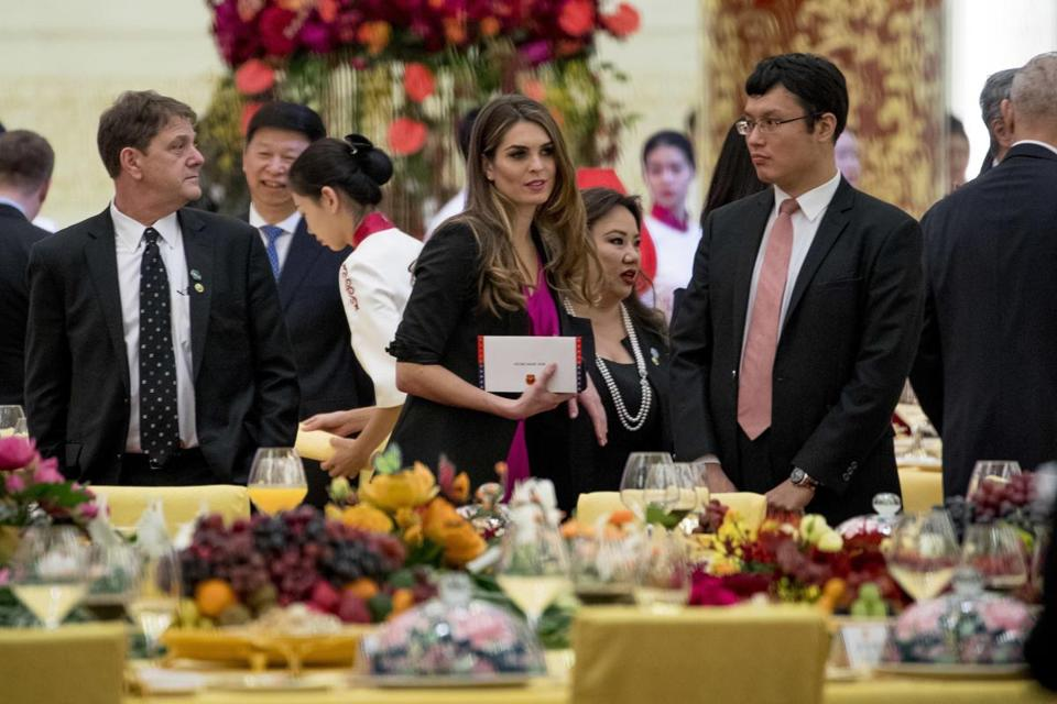 White House Communications Director Hope Hicks attended the state dinner.