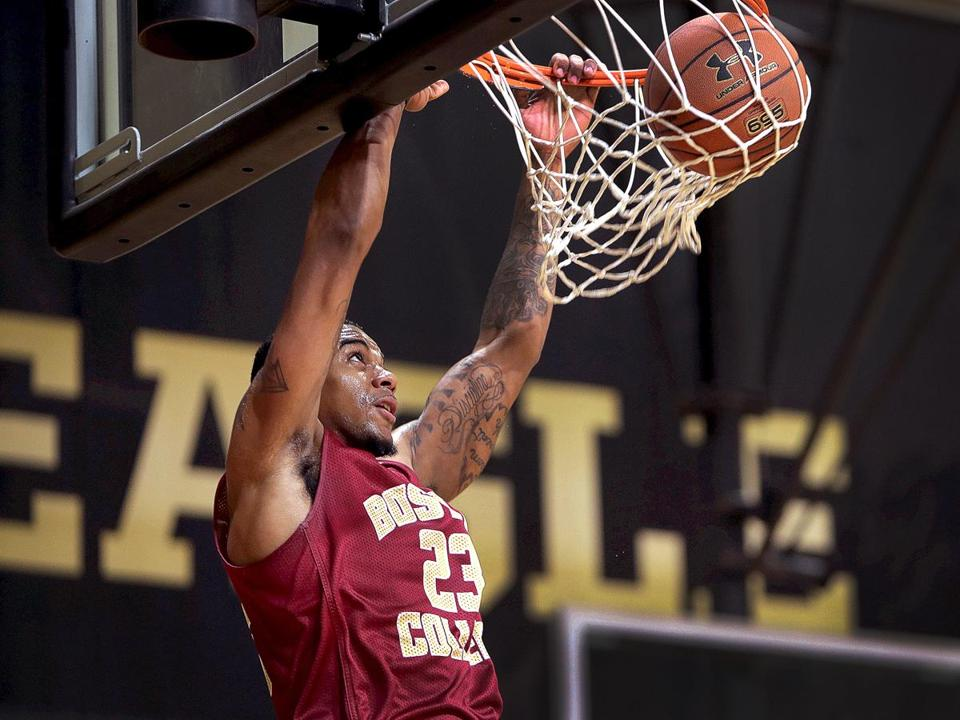 Chestnut Hill, MA - 11/03/2017 - Feature photos of Boston College Eagles forward Deontae Hawkins (23) at Boston College basketball media day. - (Barry Chin/Globe Staff), Section: Sports, Reporter: Unknown, Topic: 03BC basketball media day, LOID: 8.3.4206000830.