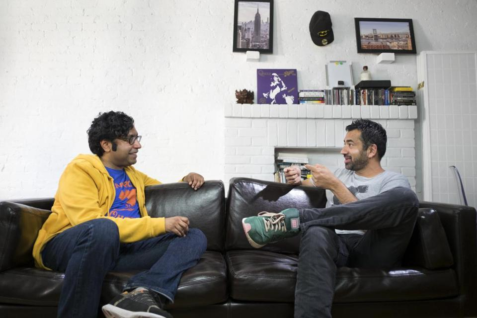 "Comedian Hari Kondabolu (left) with actor Kal Penn in the documentary ""The Problem With Apu."""