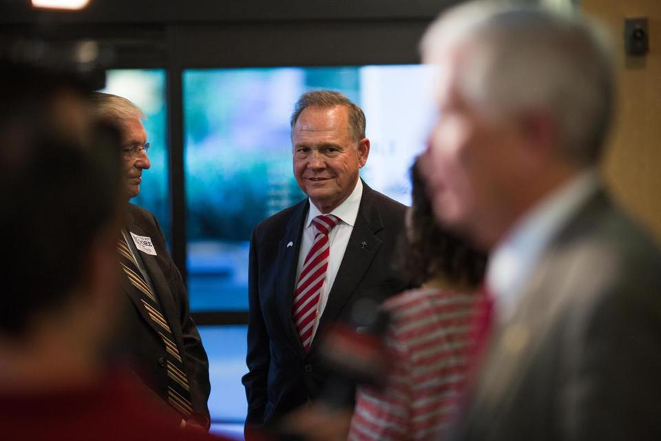 Roy Moore, a Republican candidate for Alabama's open US Senate seat, in Homewood, Ala., in August.