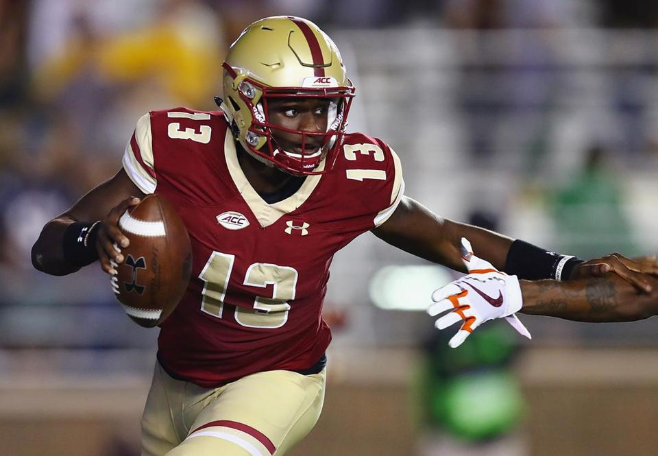 CHESTNUT HILL, MA - OCTOBER 07: Anthony Brown #13 of the Boston College Eagles scrambles with the football during the first half against the Virginia Tech Hokies at Alumni Stadium on October 7, 2017 in Chestnut Hill, Massachusetts. (Photo by Tim Bradbury/Getty Images)