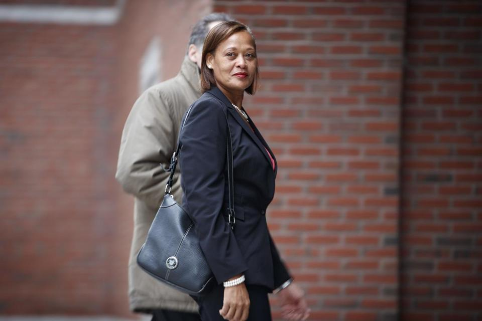 Jackie Lawson arrived at the John Joseph Moakley Federal Courthouse in South Boston on Monday. Lawson is a former Fidelity Investments employee who is suing the company for retaliation and harassment.