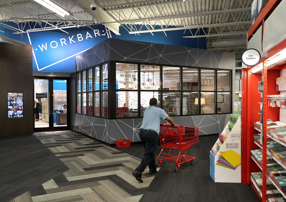 Workbar has opened spaces inside Staples stores in a bid to expand its reach.