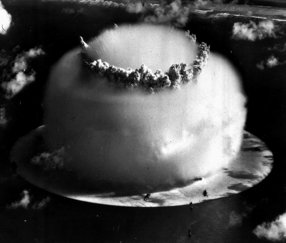 A mushroom cloud rose above Bikini atoll in the Marshall Islands following a 1946 atomic test blast by the United States.