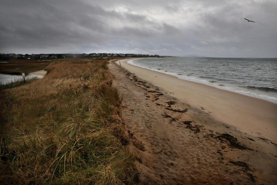 CHATHAM, MA- NOVEMBER 16, 2017- : Cockle Cove Beach in Chatham, MA on November 16, 2017. (Chatham's eroding public beaches on Nantucket Sound could soon be revitalized, after a $750, 000 beach nourishment plan was endorsed by the town's selectman at their weekly board meeting Tuesday night., The plan, proposed at the meeting by Chatham Director of Natural Resources Robert Duncansoncq and Director of Coastal Resources Theodore Keoncq, would use sand dredged from sources along the town's southern coast to renourish the depleted Cockle Cove and Harding beaches.) (CRAIG F. WALKER/GLOBE STAFF) section: metro reporter:
