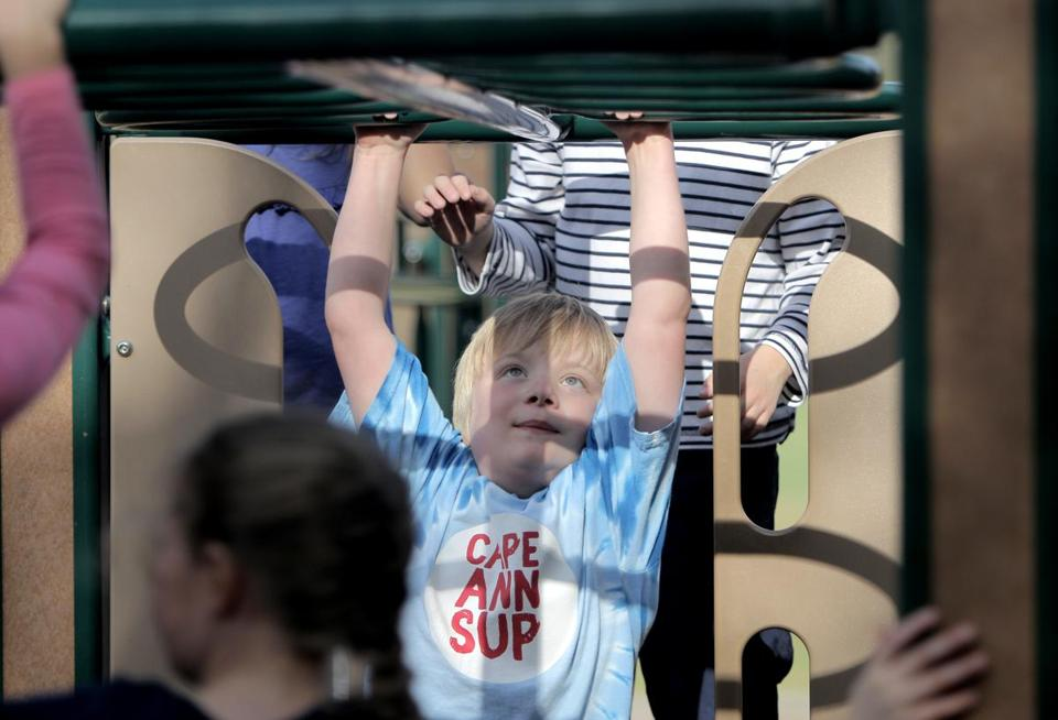 Leo Woolfenden played on the monkey bars during recess at the Bessie Buker Elementary School.
