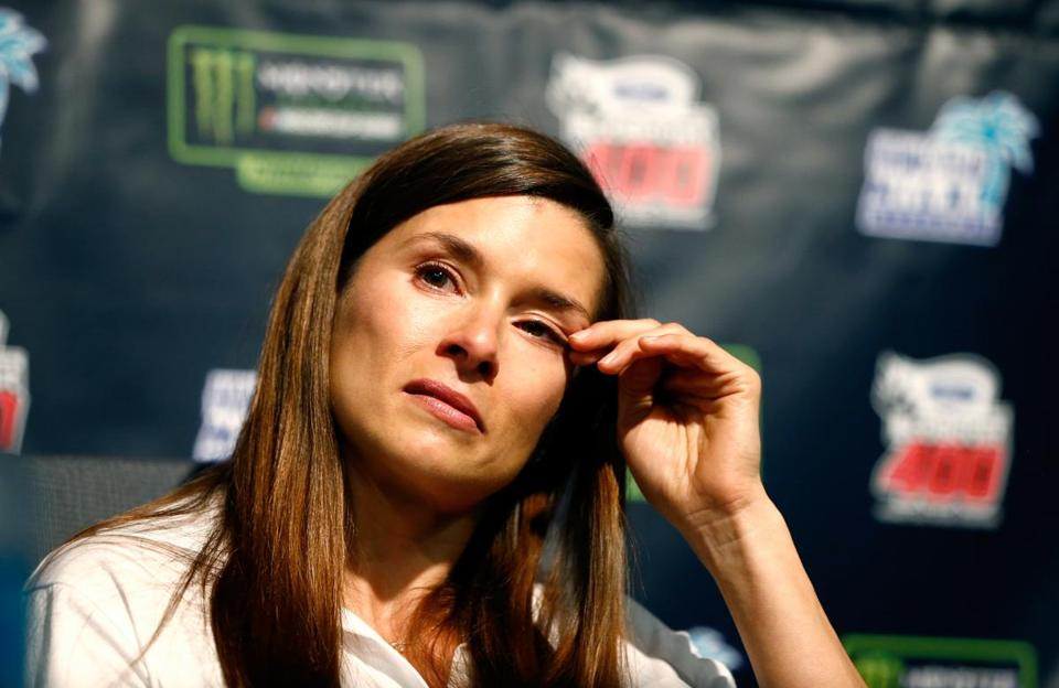 HOMESTEAD, FL - NOVEMBER 17: Danica Patrick, driver of the #10 Aspen Dental Ford, speaks during a press conference announcing her retirement from full-time racing at Homestead-Miami Speedway on November 17, 2017 in Homestead, Florida. (Photo by Jonathan Ferrey/Getty Images)