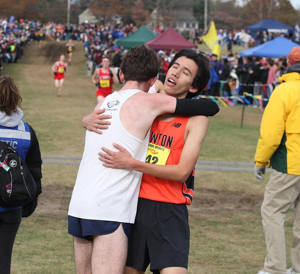 Longtime rivals Tristan Shelgren (left) and Andrew Mah embraced after the race.
