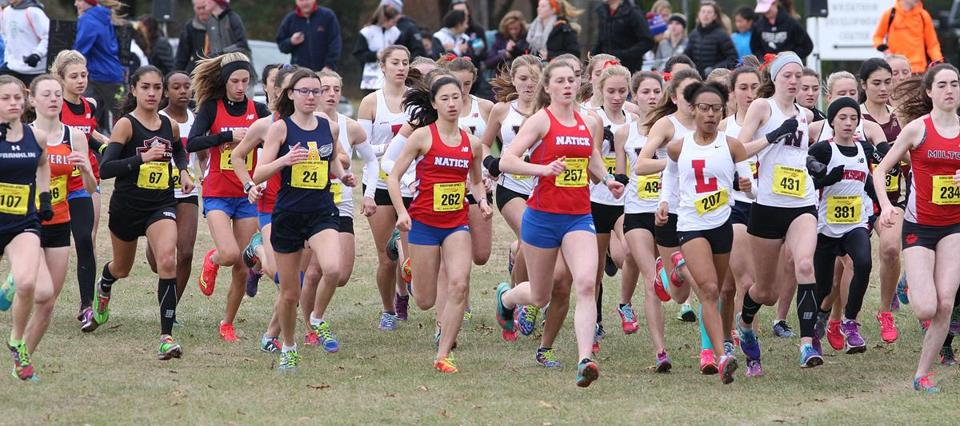 Wrentham, MA 11/18/17 D1 and D2 All-State cross country for SPORTS ( George Rizer for the Globe) Div 1 glrls...off and running.............winner #257 Grace Connolly Natick HS center......