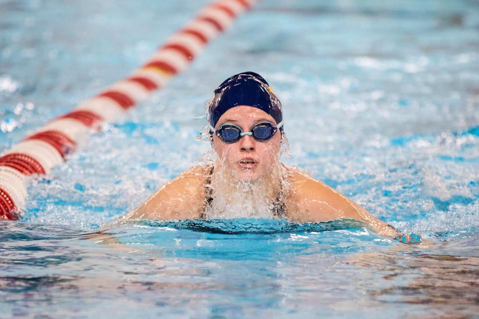 11/19/2017 WORCESTER, MA Andover's Jordan Clements (cq) competed in the 100 yard breaststroke during the MIAA Girls and Boys Fall State Swimming and Diving Championships for Division 1 held at WPI Sports and Recreation Center in Worcester. (Aram Boghosian for The Boston Globe)