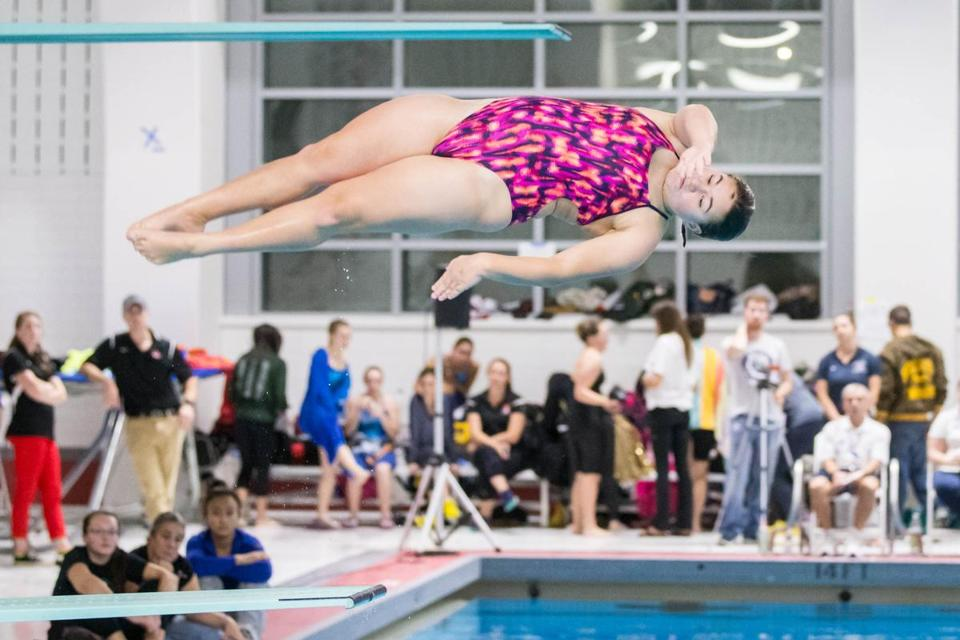 Halia Bower of Framingham won the diving competition.