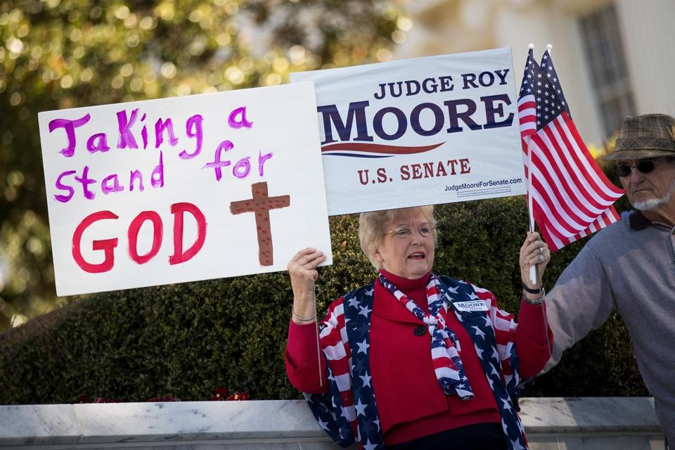 Patricia Riley Jones attended a 'Women For Moore' rally in support of Republican candidate for US Senate Judge Roy Moore, in front of the Alabama State Capitol.