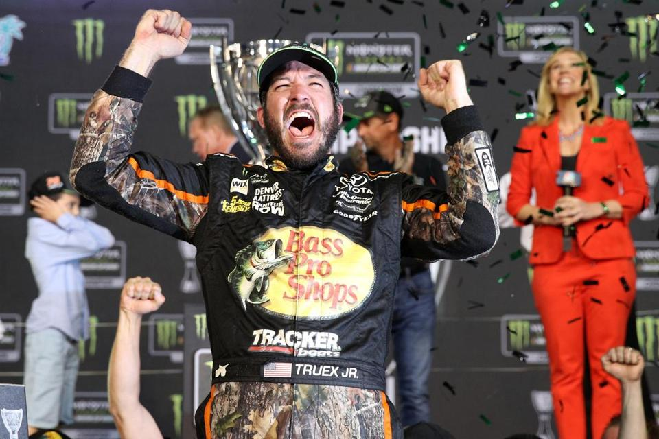Martin Truex Jr. celebrated after winning the Monster Energy NASCAR Cup Series championship.