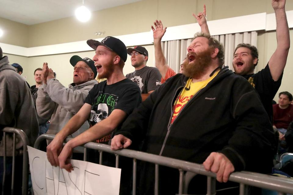 Fans Anthony Miller of Windham, N.H., and Michael Desroches of Manchester, N.H., cheered on Chase Del Monte at the match last month.