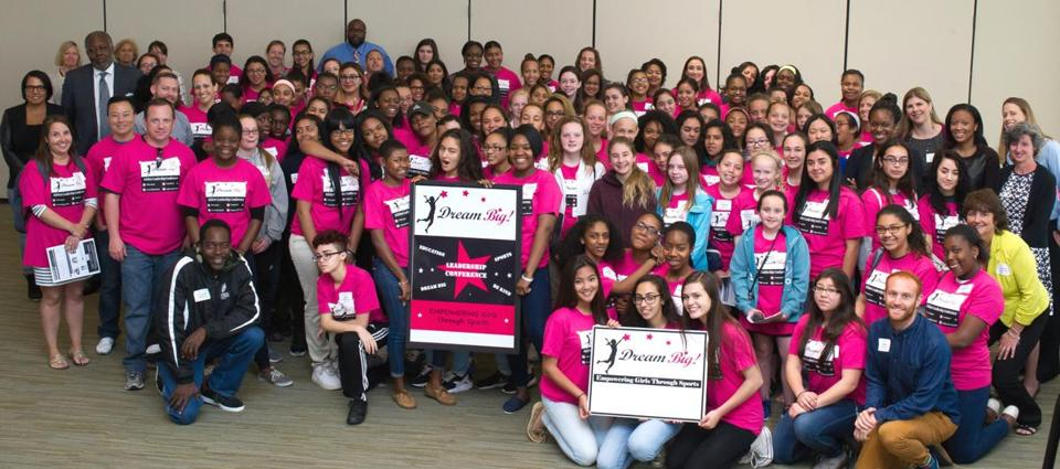 Middle and high school athletes from Greater Boston and Lawrence attended the annual Dream Big leadership conference at UMass Boston.