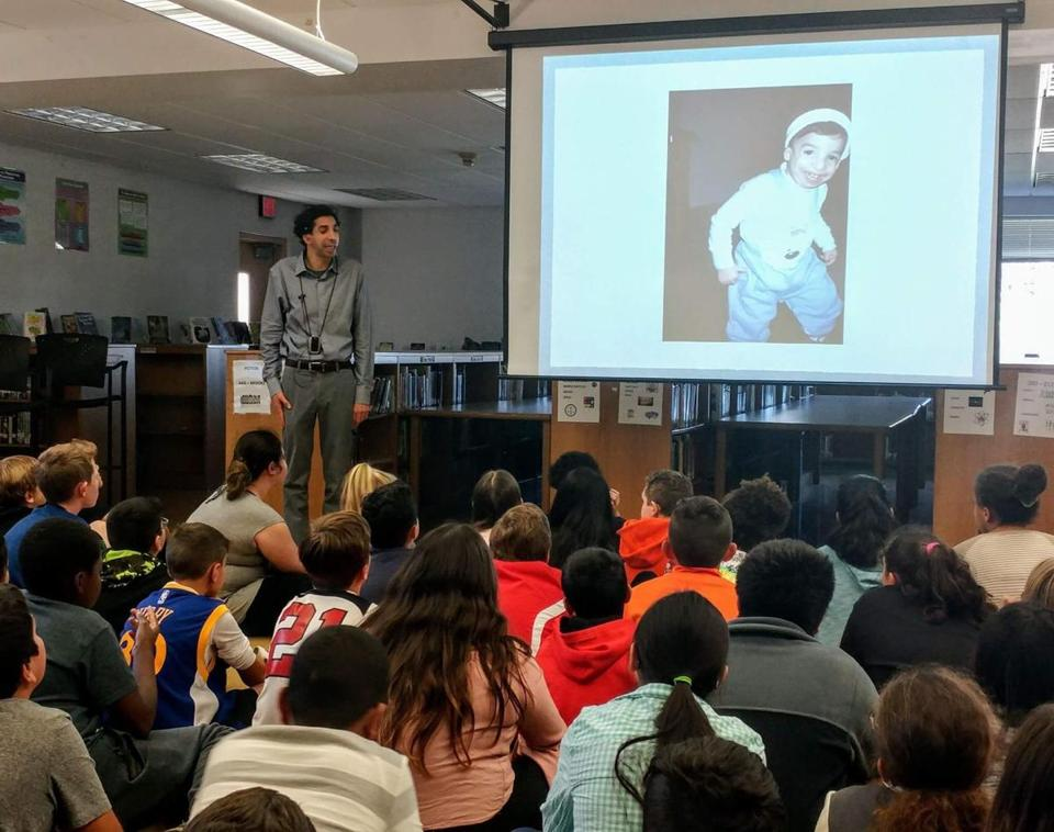 Sam Drazin talks with students about empathy and acceptance of others during a Changing Perspectives visit.