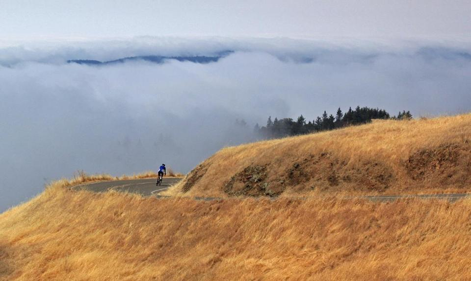 The twists and vistas of West Ridgecrest Road near Mount Tamalpais will get the hearts of bikers pumping.