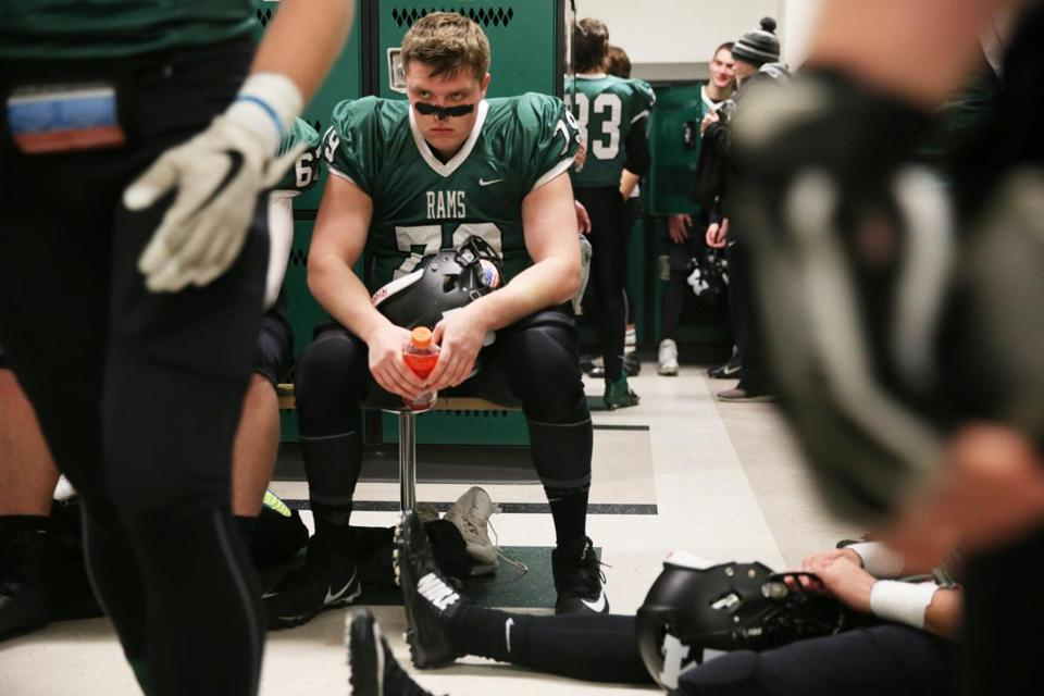 Marshfield's Steven Dowling gathers his thoughts as the Rams prepared to face rival Duxbury.