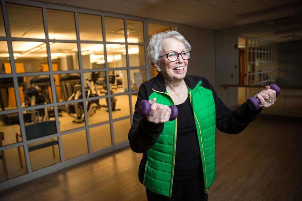 11/22/2017 CANTON, MA Resident Bea Lipsky (cq) 89, works out in the gym on her birthday at Orchard Cove in Canton. (Aram Boghosian for The Boston Globe)