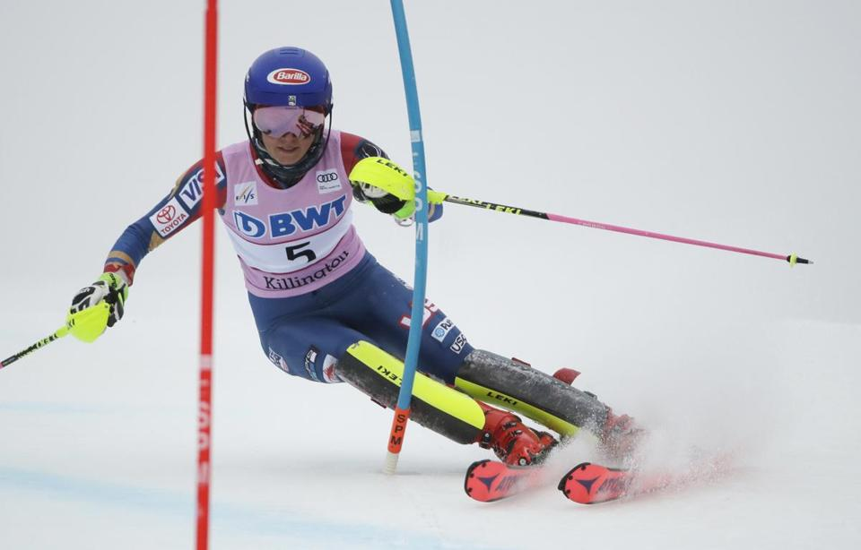 Mikaela Shiffrin headed downhill Sunday during her first run in the women's FIS Alpine Skiing World Cup slalom race.