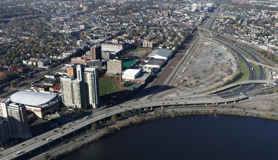 An aerial view of the Massachusetts Turnpike and the former rail yard in Allston.