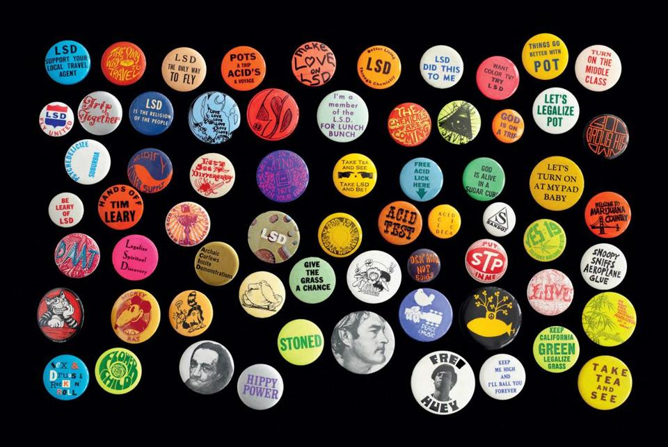 A collection of counterculture-themed pins from Julio Mario Santo Domingo Jr.