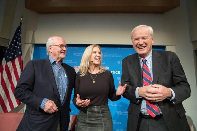 Kerry Kennedy and MSNBC host Chris Matthews (right) appeared at an event discussing Robert F. Kennedy's legacy at Harvard.