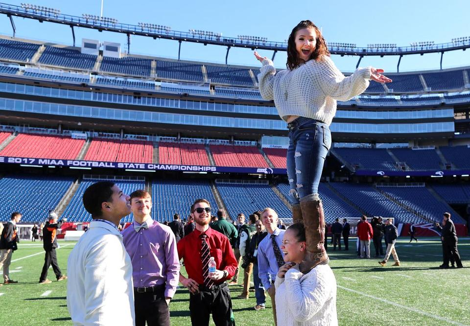 Hoosac Valley cheerleading captain Alexus Boucher stands out at Gillette.