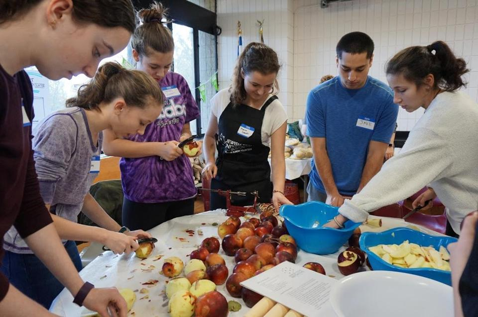 03nosoupersunday - Volunteers from the Jewish Teen Initiative in Marblehead prepare apple pies for local families in need. (Handout)