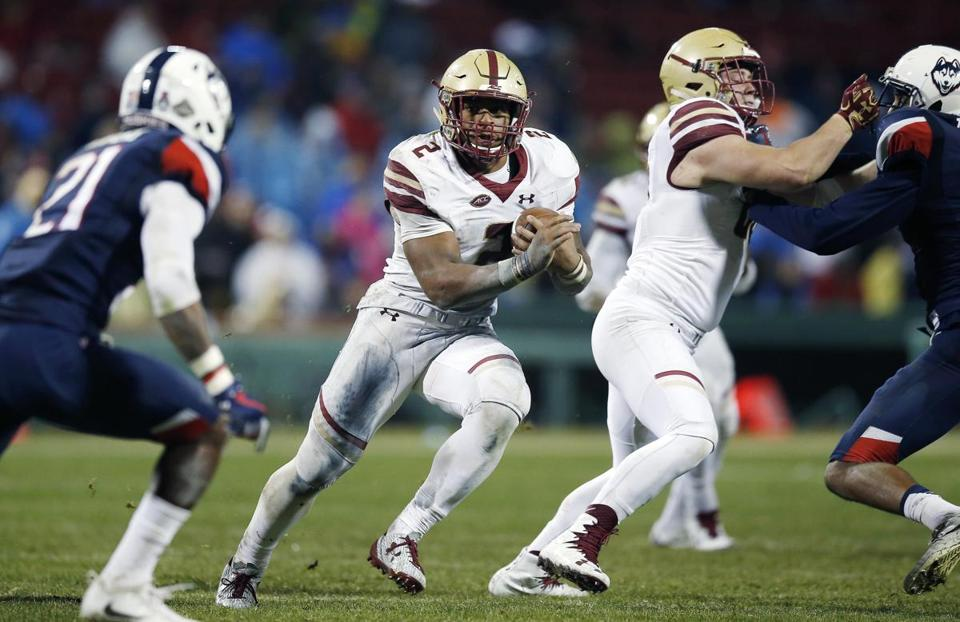 A.J. Dillon ran for 200 yards in BC's win over UConn.