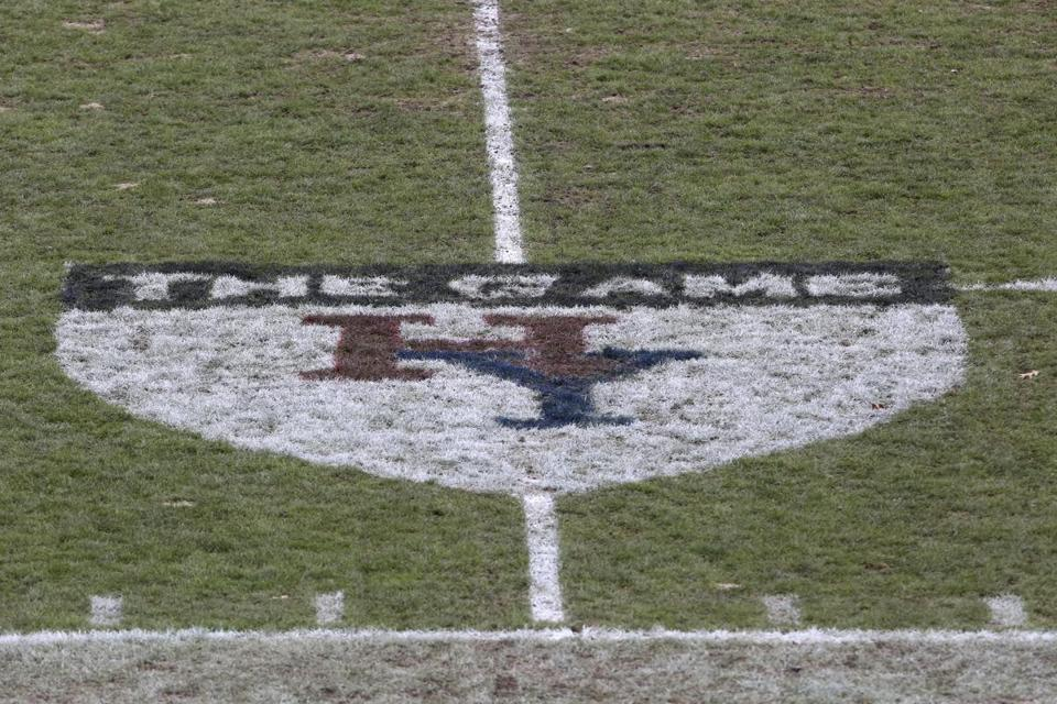 A logo for 'The Game' is seen on the field before Harvard played Yale on Saturday, November 18, 2017 in New Haven, CT. Yale won the game 24-3 and won their first outright Ivy League title since 1980. (AP Photo/Gregory Payan)