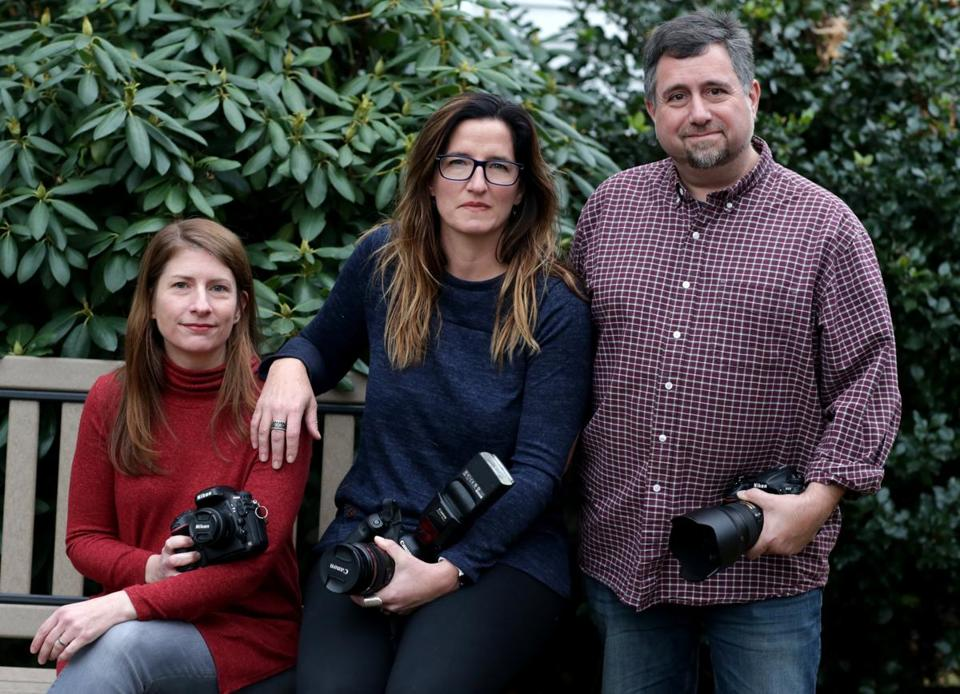 From left: Sharon Reiley, Jessica McDaniel, and Bill McCarty are part of group of photographers who are traveling to Texas this weekend to photograph people who lost their family photographs in Hurricane Harvey.