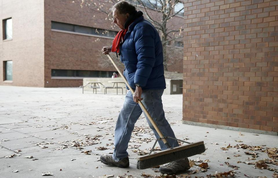 Bobby Carroll has only a few weeks to keep the campus at the University of Massachusetts Boston clean until his layoff date.