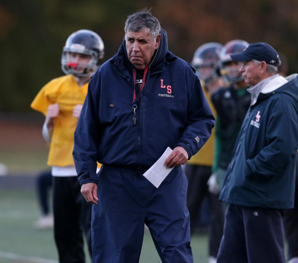 11/29/2017 Sudbury- Ma- Lincoln Sudbury Head Coach Tom Lopez at a afternoon Football practice. Jonathan Wiggs\Globe Staff Reporter:Topic.