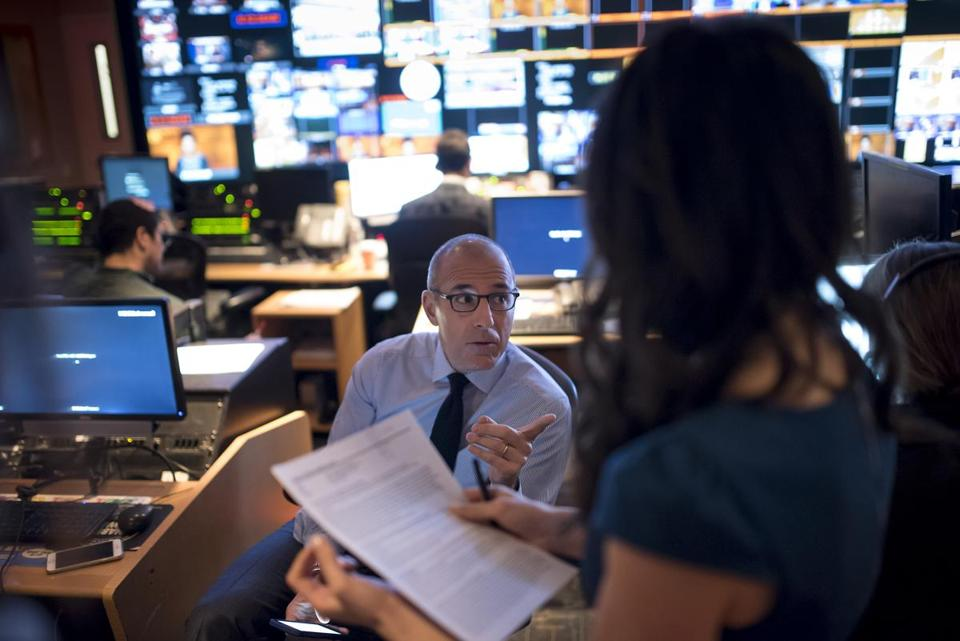 "Matt Lauer, co-anchor for the ""Today"" show, met with the show's producers in the control room in New York."