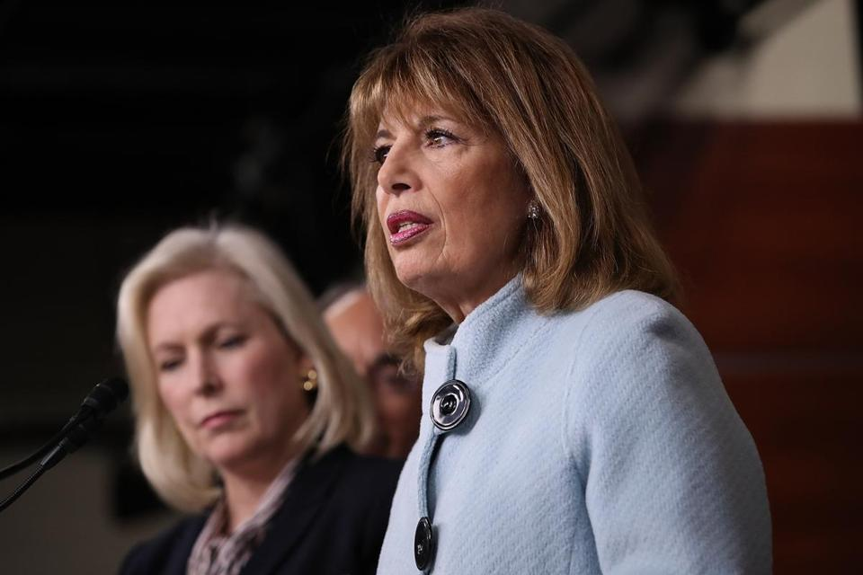 Senator Kirsten Gillibrand and Representative Jackie Speier speak at a press conference on sexual harassment in Congress, Nov. 15, in Washington. Gillibrand and Speier announced the introduction of bipartisan legislation to prevent and respond to sexual harassment in Congress.