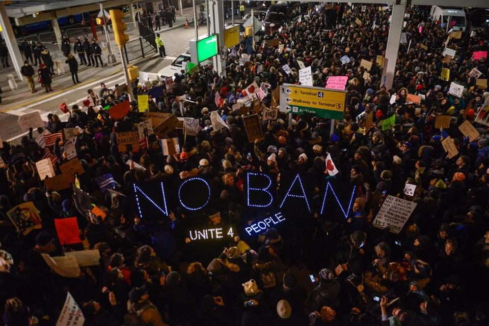 Protestors demonstrated at John F. Kennedy International Airport in January against President Trump's executive order halting refugees and residents from predominantly Muslim countries from entering the United States.