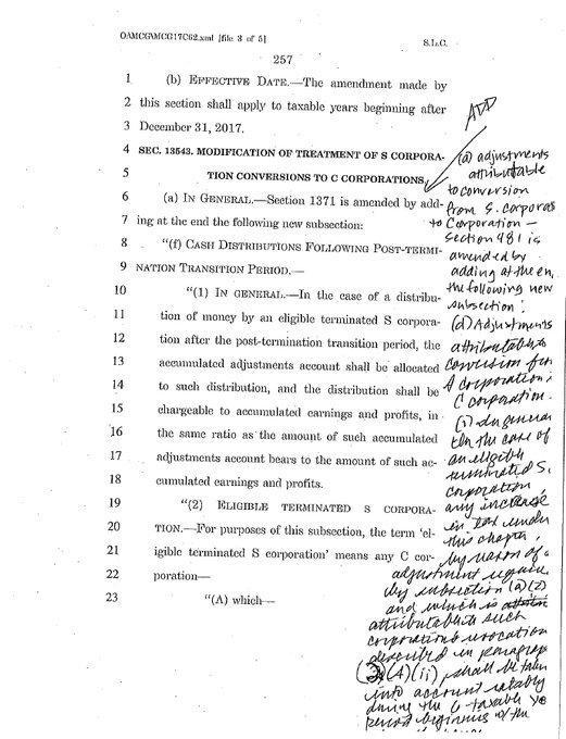 In a handout image, handwritten notes in the margins of a draft of the tax bill as released by Senate Republicans just hours before the final vote on it, on Dec. 1, 2017. Democrats posted screenshots and accompanying complaints; Sen. Jon Tester (D-Mont.) called it ÒWashington D.C. at its worstÓ in a video. (Handout via The New York Times) -- -- NO SALES; FOR EDITORIAL USE ONLY WITH STORY SLUGGED DC-TAX-CHAOS BY TANKERSLEY AND RAPPEPORT FOR DEC. 2, 2017. ALL OTHER USE PROHIBITED. --