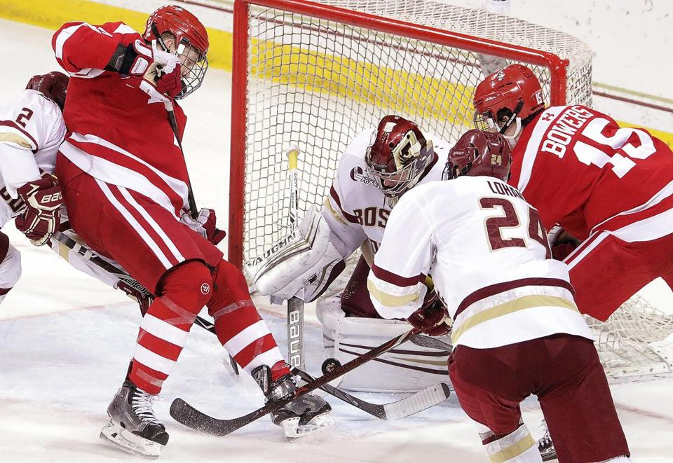 BC goaltender Joe Woll faced heavy pressure from BU.