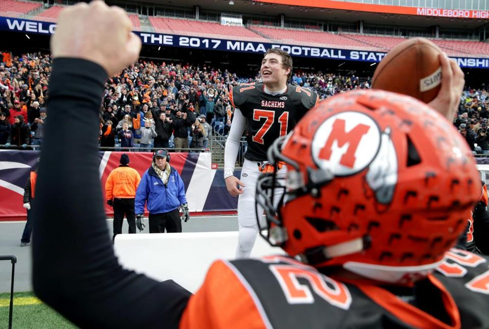 Middleborough's Ryan Perry celebrates his team's victory in the Division 6 Super Bowl at Gillette Stadium.