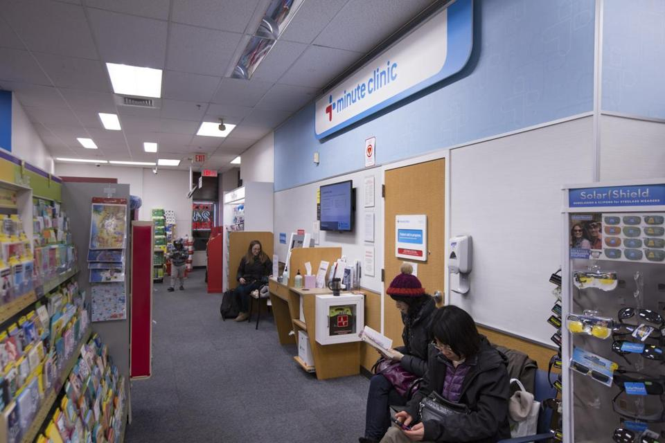 On Monday afternoon, the wait at a CVS MinuteClinic in Porter Square was about an hour and 15 minutes.