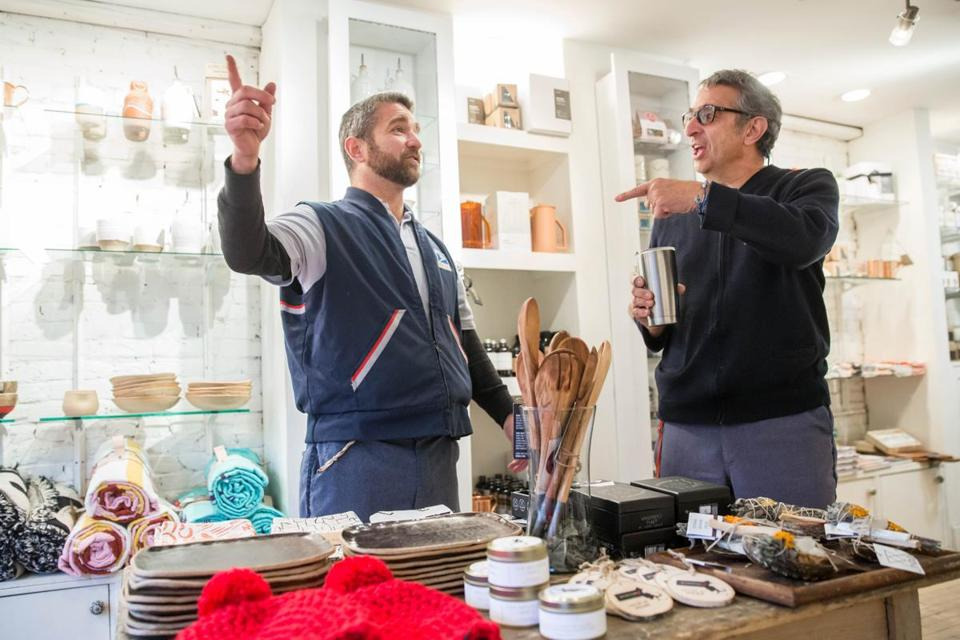 "Mailmen Joe Giordano (left) and Chris Kostaras, at the Boston store Olives and Grace, for which they appear in ""The OG Review."""