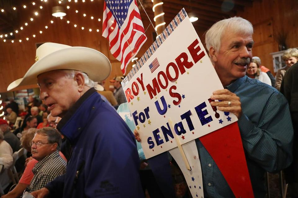 People attended a campaign rally for Roy Moore.