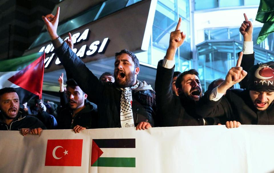 Demonstrators protested next to the US embassy in Ankara on Wednesday.