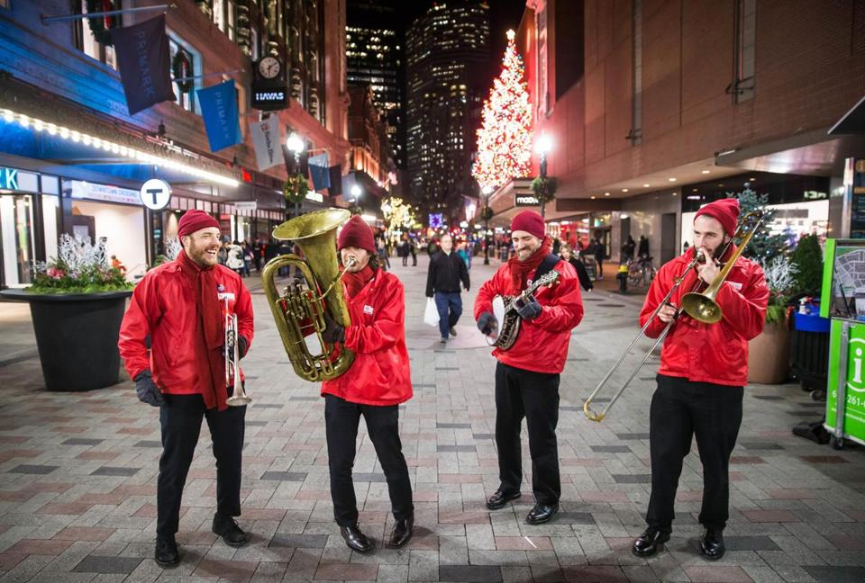 The Downtown Boston Business Improvement District's Dixieland band at Downtown Crossing.