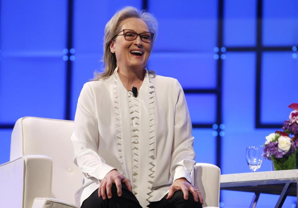 Boston, MA -- 12/07/2017 - Meryl Streep laughs as she speaks at the Keynote Luncheon at The Massachusetts Conference For Women. (Jessica Rinaldi/Globe Staff) Topic: Names Reporter: