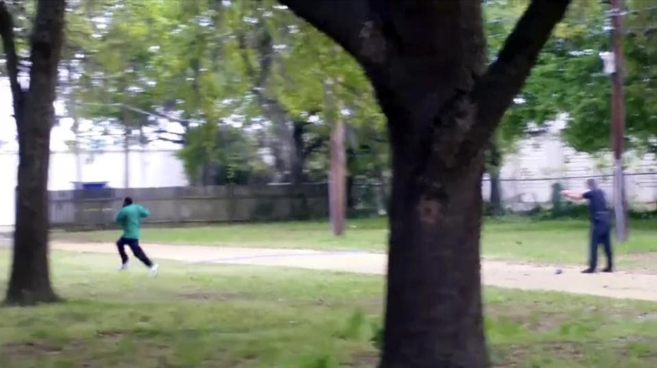 In this image from video from April, 2015, Walter Scott (left) is shot by police officer Michael Slager in Charleston, S.C.